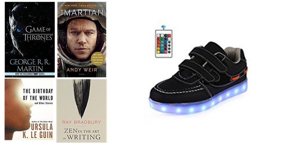 Geek Daily Deals 071617 books light-up shoes