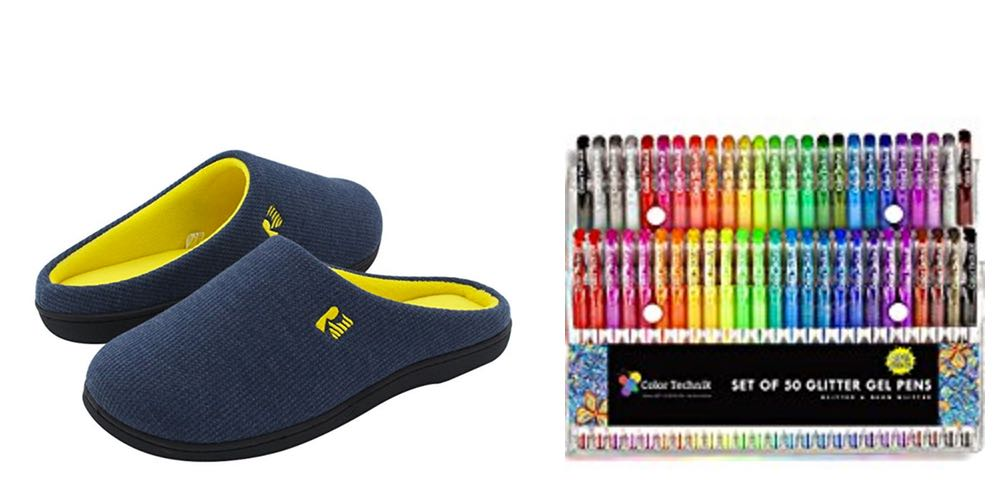 Geek Daily Deals 073017 memory foam slippers glitter pens