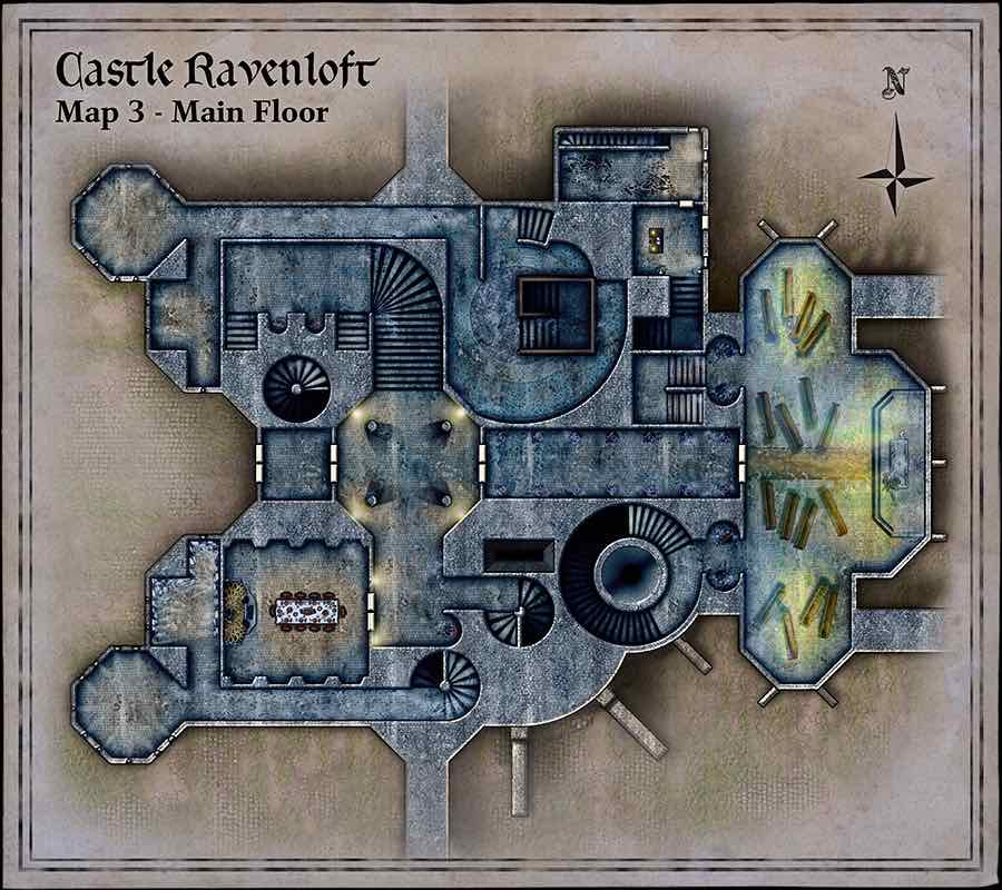 Exclusive Top down map of Ravenloft Curse of Strahd on Roll20