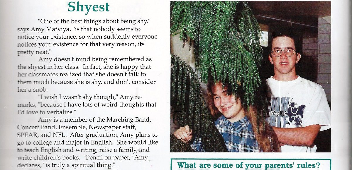 Scan from author's high school yearbook, feature on her being voted class Shyest.