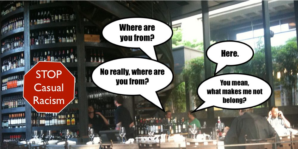 Casually racist conversation in wine bar