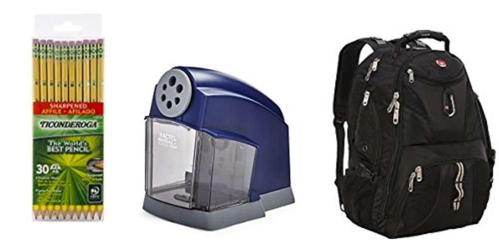 Geek Daily Deals ticonderoga pencils electric sharpener swissgear backpack