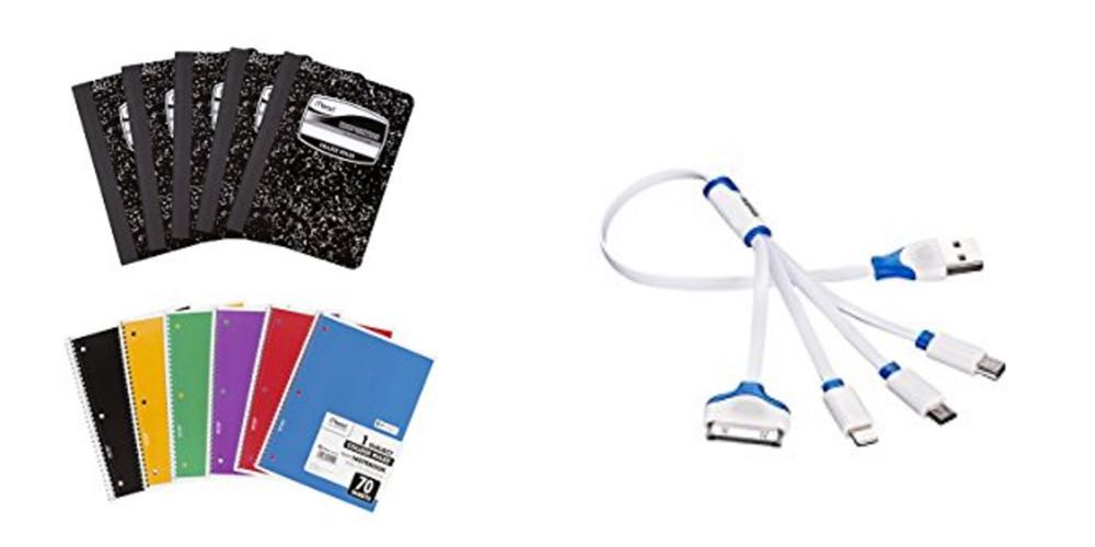 Geek Daily Deals 080917 composition and spiral notebooks charging cables