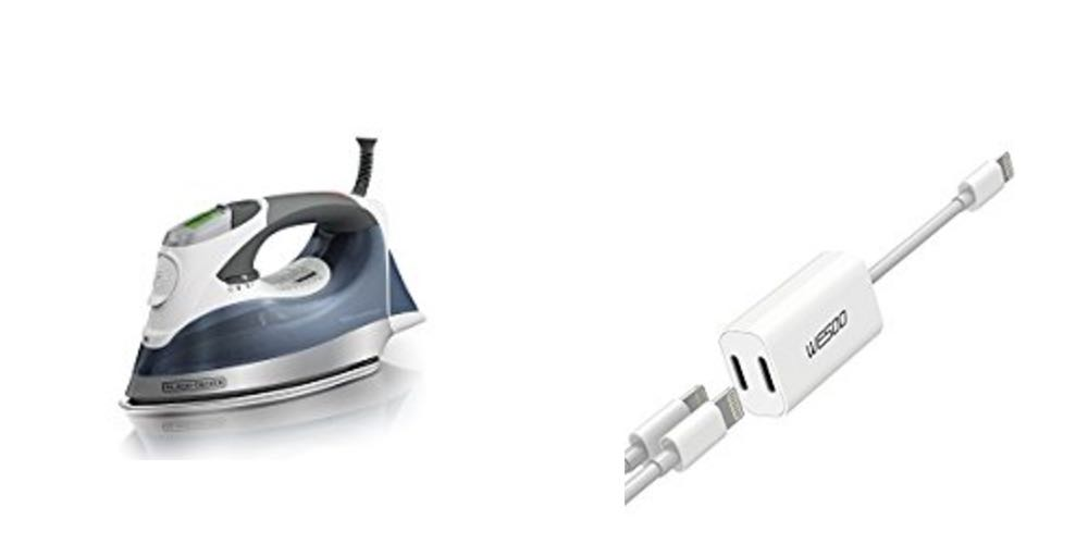 Geek Daily Deals black decker digital iron iphone lightening audio splitter