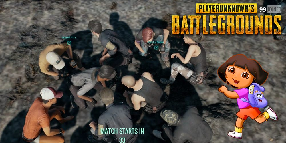 A group of players huddled in the middle of a dance in 'PLAYERUNKNOWN'S BATTLEGROUNDS'. Dora flanks the image on the right.