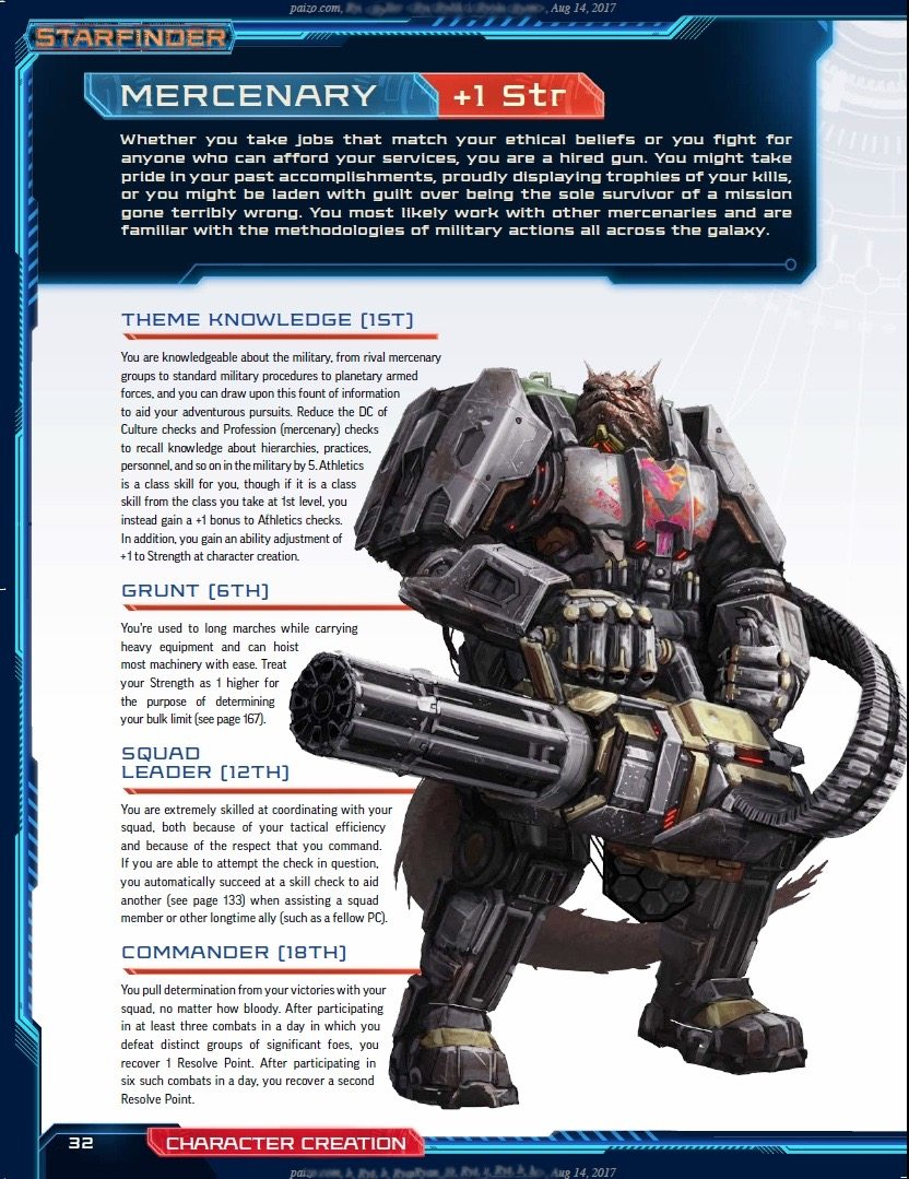 Sample page from the core rulebook
