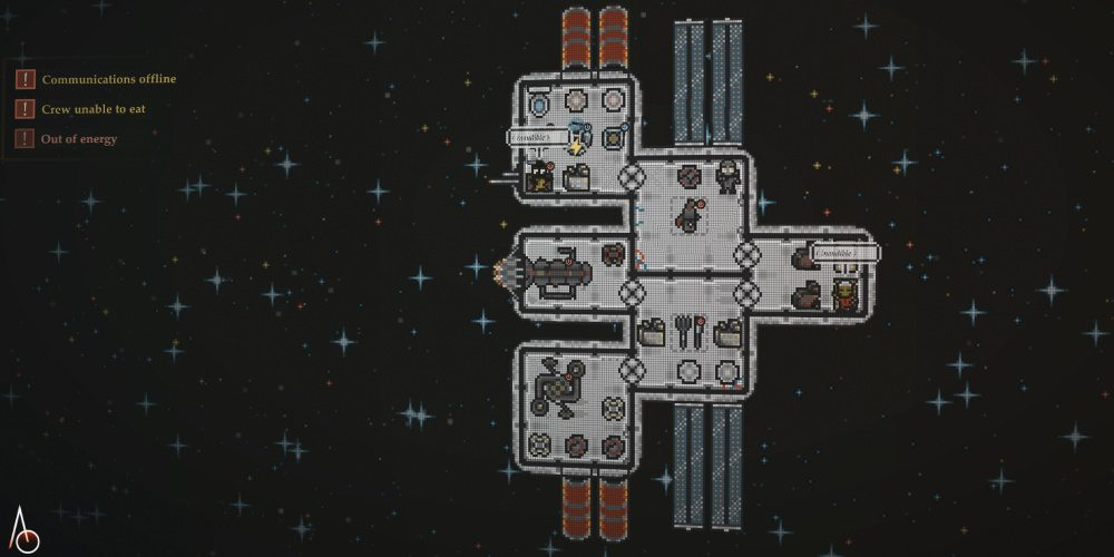 A custom spaceship from Destination Ares with six compartments, engines and other systems, and crew.