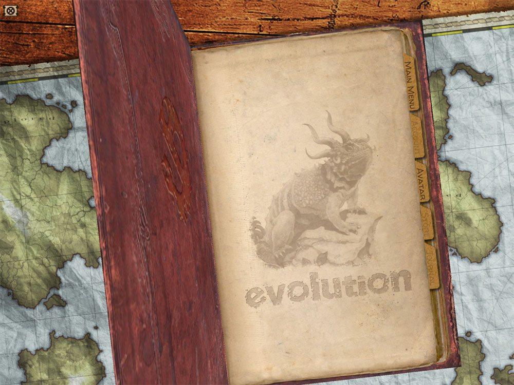 Evolution video game open book