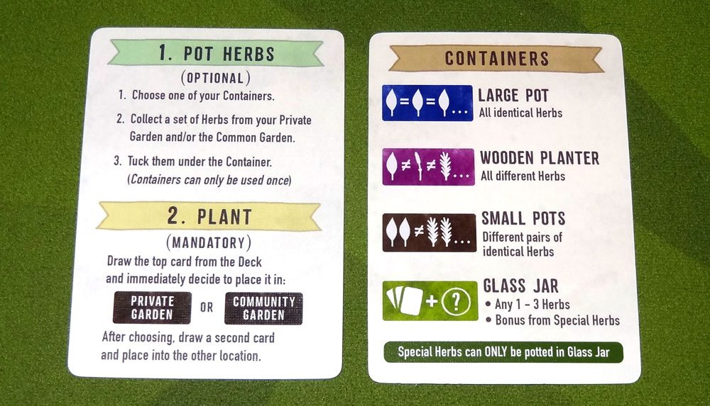 Herbaceous player aid cards