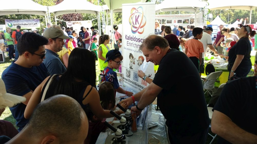 Wonderful weekend at NY Maker Faire: Young forensic scientists analyze evidence at the Kaleidoscope Enrichment table. Photo: Tom Davidson