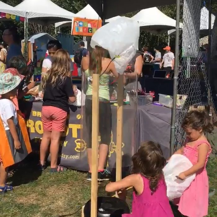 Wonderful weekend at NY Maker Faire: Squeals of glee filled the air along with parachutes made from plastic shopping bags. Photo: Paul Calvano