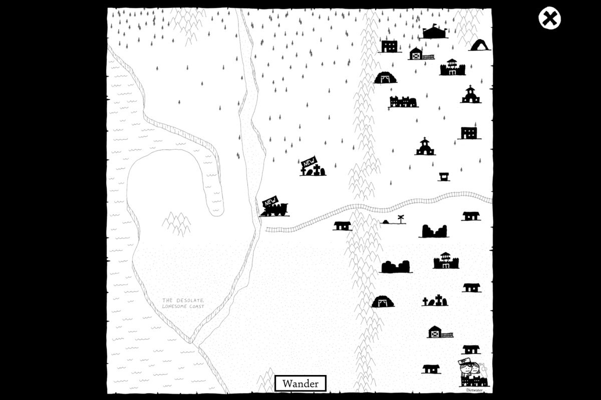 The in-game world map in West of Loathing, with the names of locations removed.