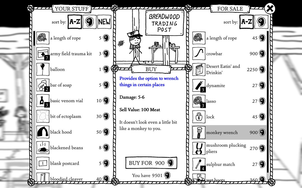 View of a store in West of Loathing including items for purchase and the player's inventory.