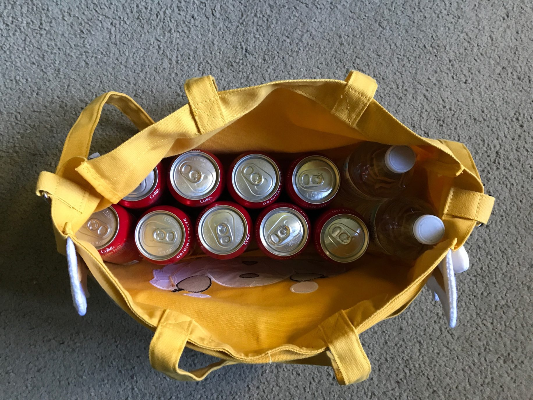 Aggretsuko bag holds quite a few cokes. \ Image: Dakster Sullivan