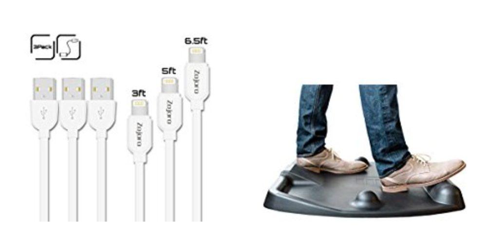 Geek Daily Deals 100317 lightning cables standing desk mat