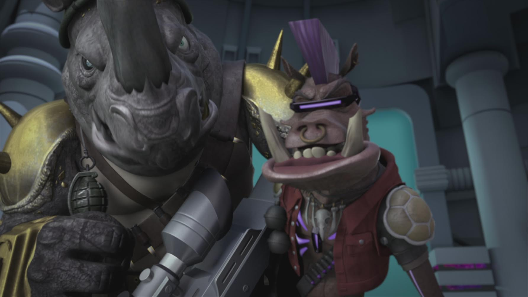 My son's Bebop and Rocksteady actually look like thugs you wouldn't want to cross. \ Image: Nickelodeon.