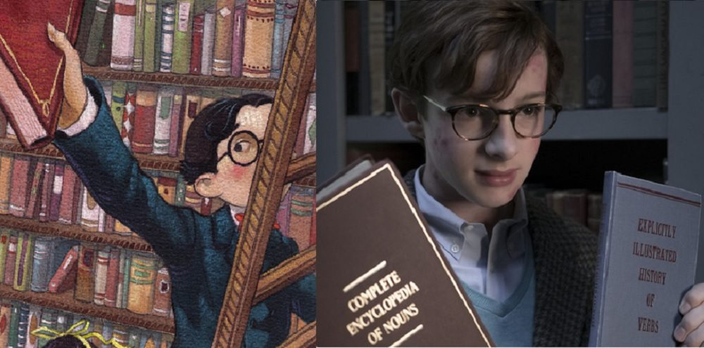 Two pics of Klaus Baudelaire (one from the books, one from the Netflix series) searching for clues in library books