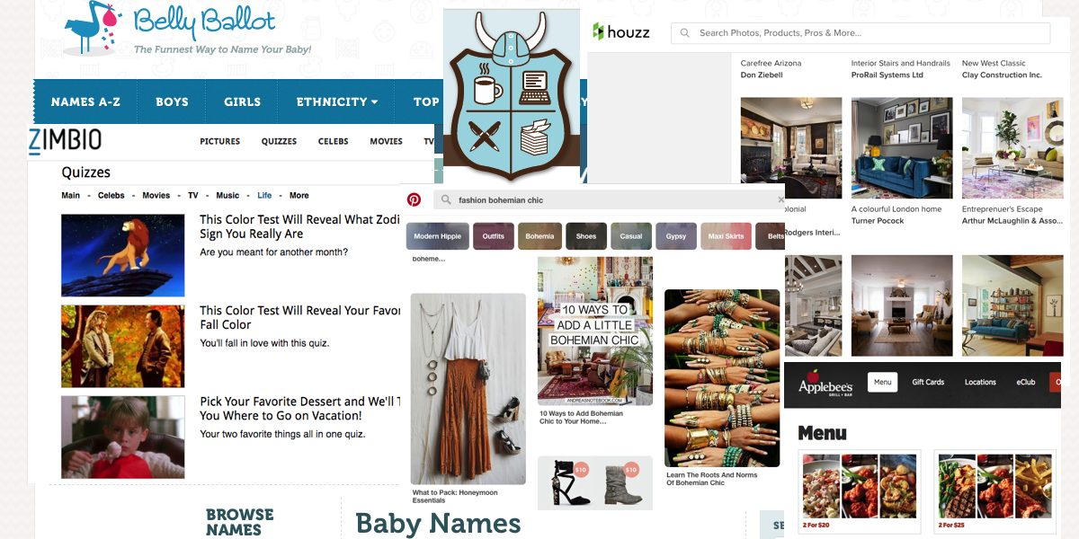 Screenshots from NaNoWriMo prep sites: babynames.net, Applebees, Zimbio, Amazon, Pinterest, and NaNoWriMo