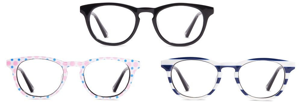 Three pairs of round glasses in black, pink and blue polka-dot, and blue and white horizontal stripe