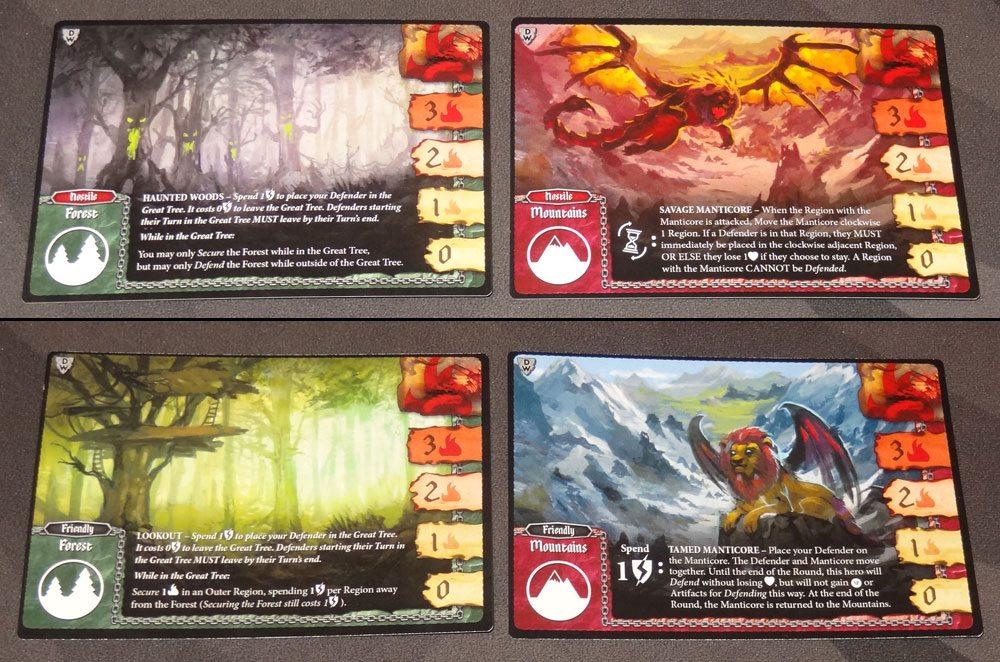 Tiny Epic Defenders: The Dark War region cards