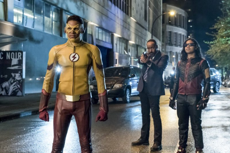 "The Flash -- ""The Flash Reborn"" -- Image Number: FLA401a_0208b.jpg -- Pictured: Keiynan Lonsdale as Kid Flash, Jesse L. Martin as Detective Joe West and Carlos Valdes as Vibe -- Photo: Katie Yu/The CW -- © 2017 The CW Network, LLC. All rights reserved."
