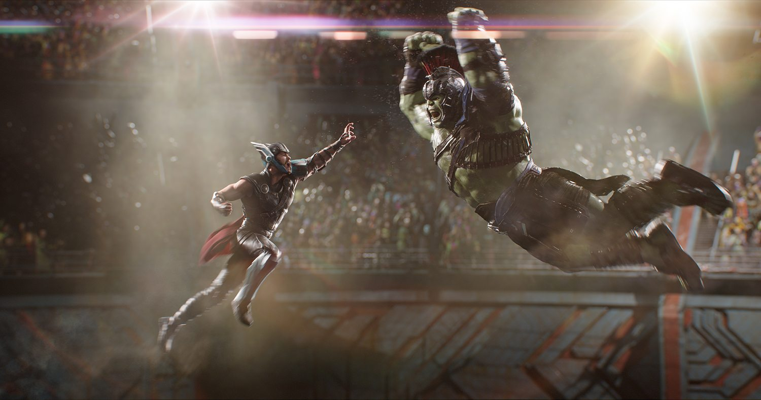 Thor (Chris Hemsworth) and Hulk (Mark Ruffalo) in the grudge-match of the century.