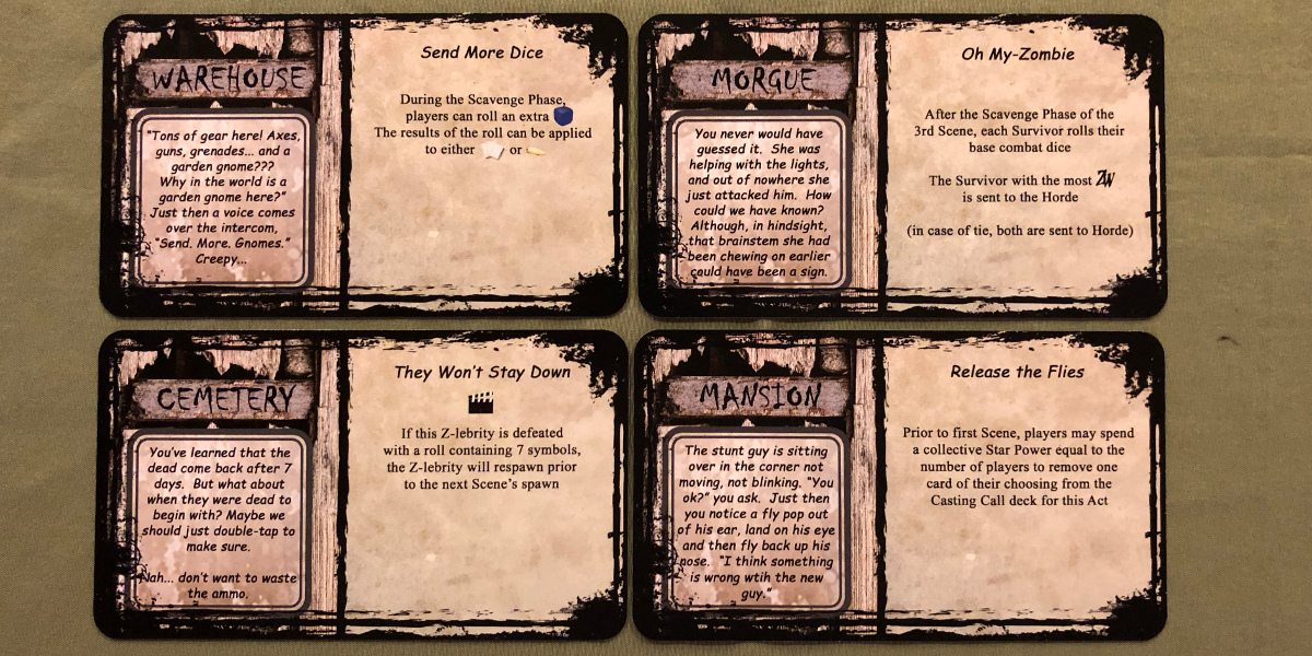 Four location cards from 'Adventures in Zombiewood:' Warehouse, Morgue, Cemetary, and Mansion.