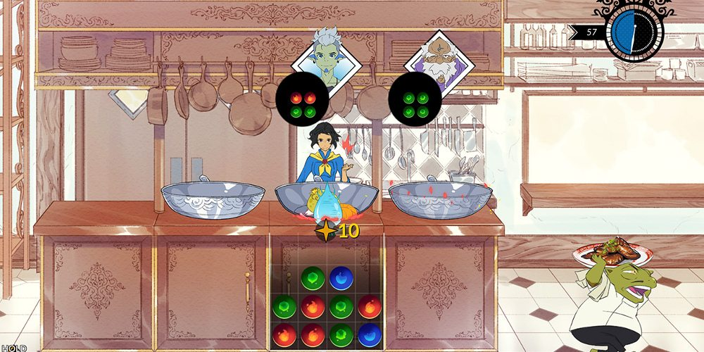 Mina standing behind a stove. Beneath her location is a match-3 game of ingredients that the player manipulates to cook.