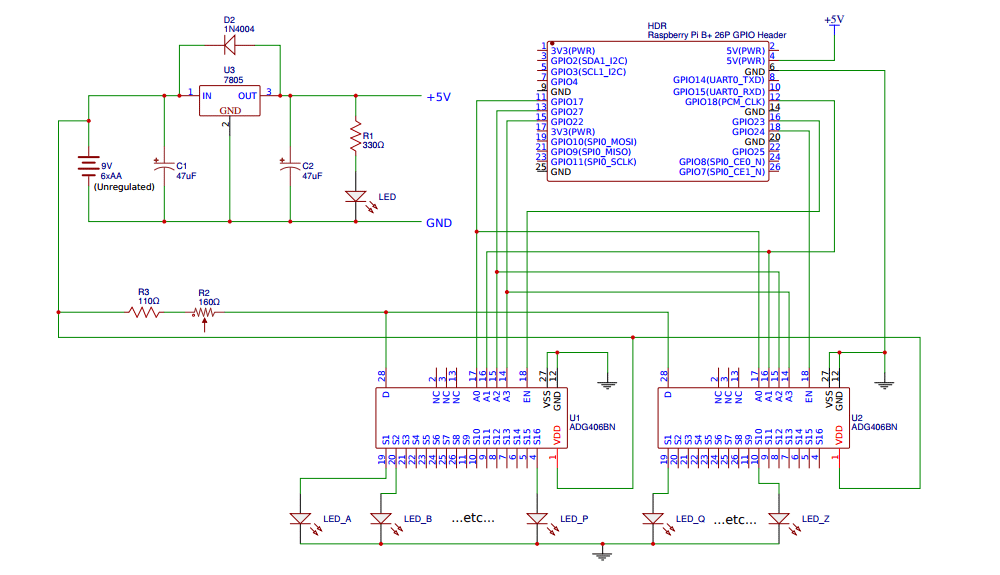 Circuit diagram showing a power supply, pin header for a Raspberry Pi, and two DG406 analog multiplexers.