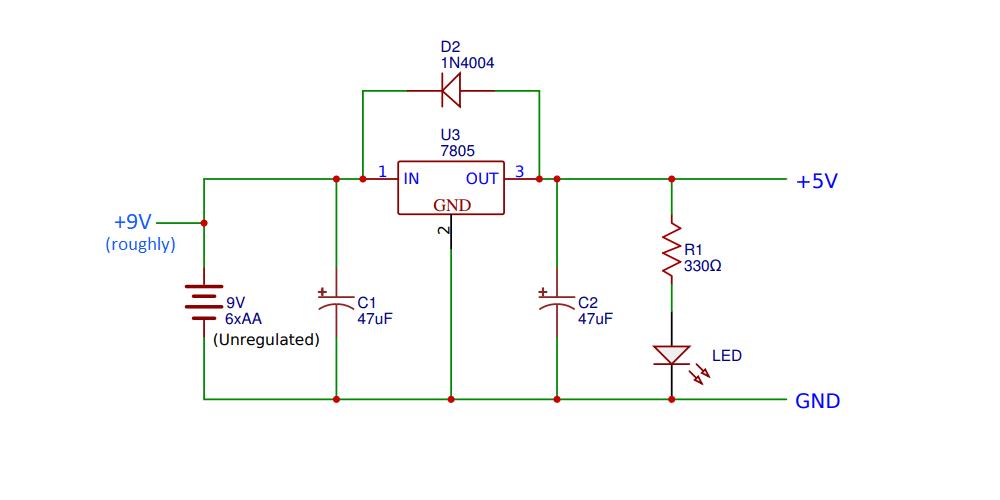 Circuit diagram providing stable 5 volts.