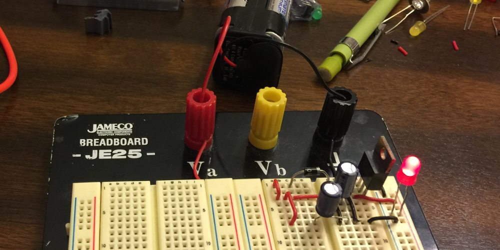 Physical wiring of the 5 volt regulated supply circuit.