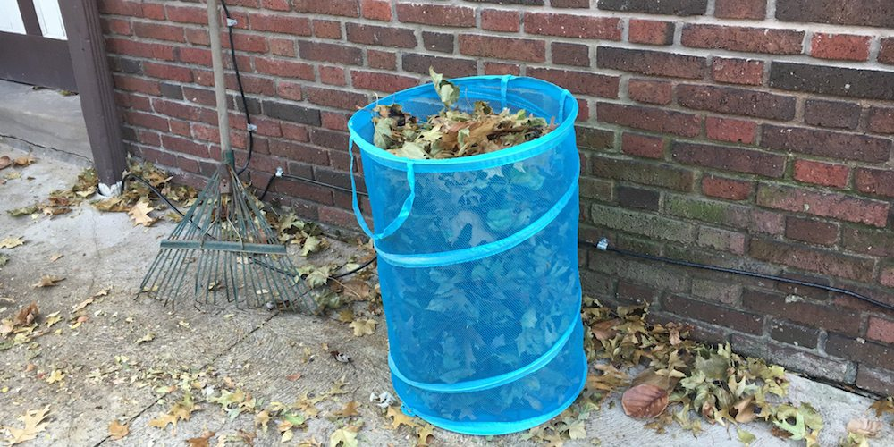 image of pop-up hamper filled with leaves next to rake