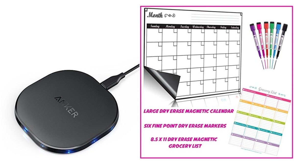 Geek Daily Deals 011918 induction charger magnetic dry erase calendar