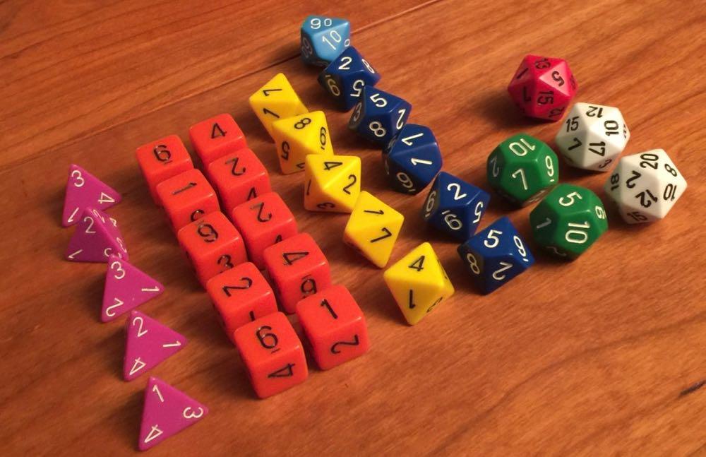 Full dungeon master dice set.