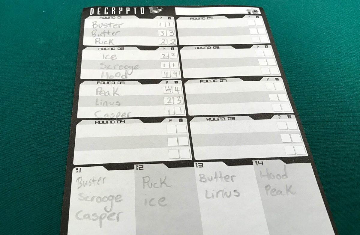 Decrypto Notesheet