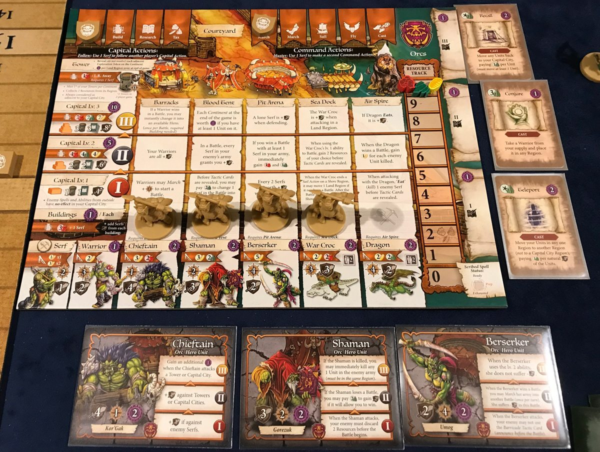 Heroes of Land, Air & Sea Orc faction board