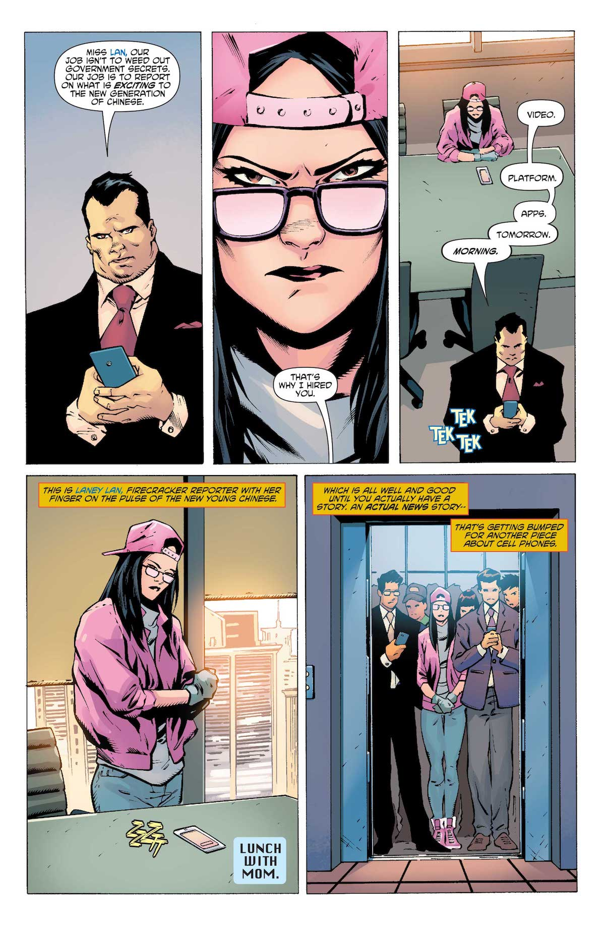 New Super-Man #19 interior page Laney Lan