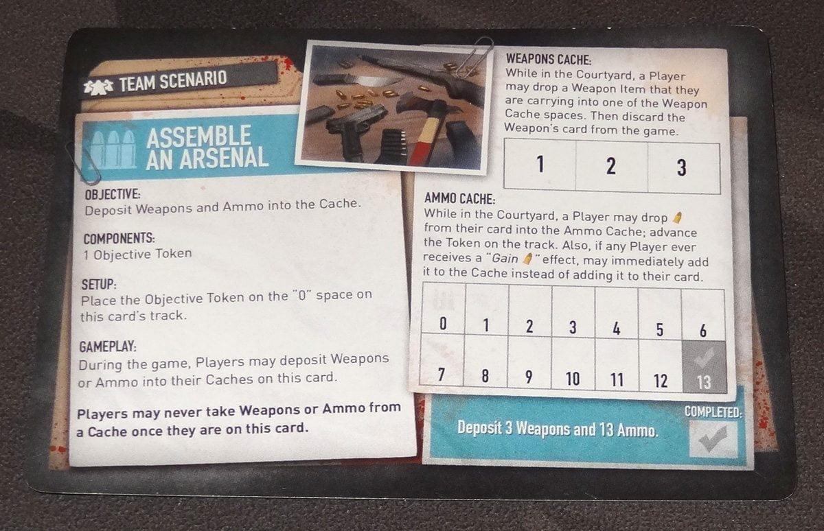 Tiny Epic Zombies Assemble an Arsenal scenario card