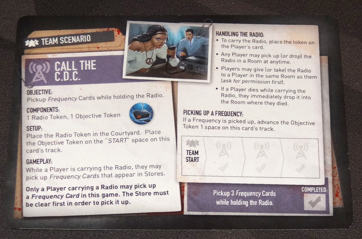 Tiny Epic Zombies Call the CDC scenario card