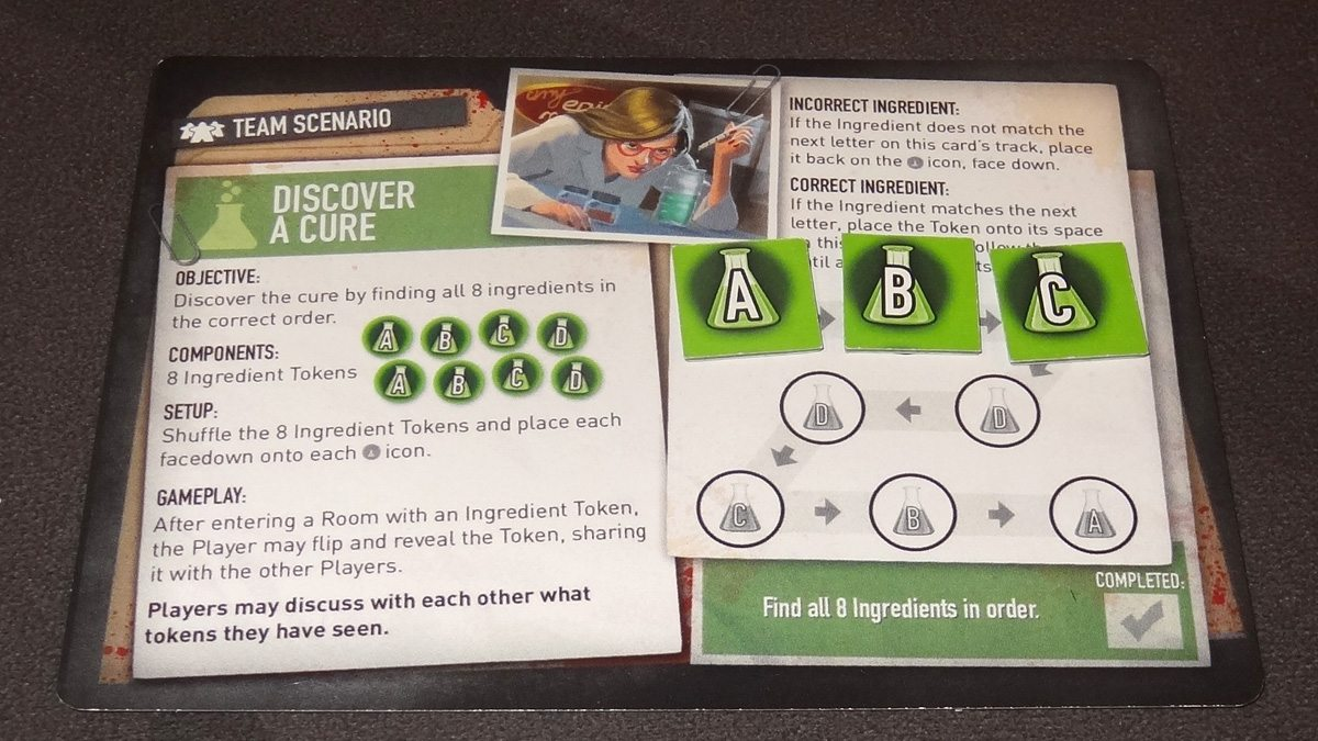 Tiny Epic Zombies Discover a Cure scenario card