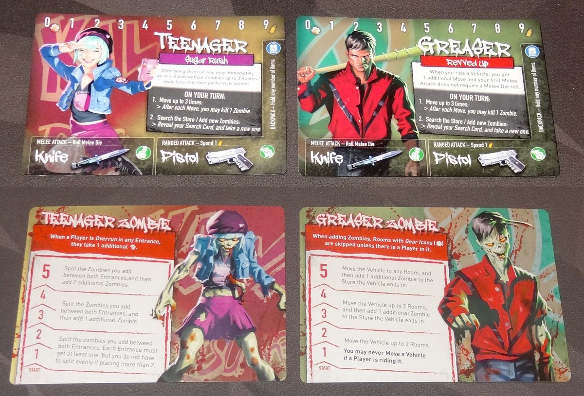 Tiny Epic Zombies teenager and greaser character cards