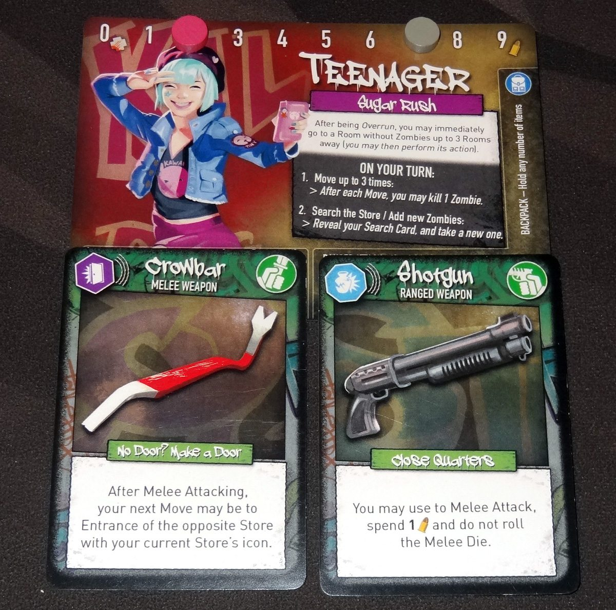 Tiny Epic Zombies character card with weapons