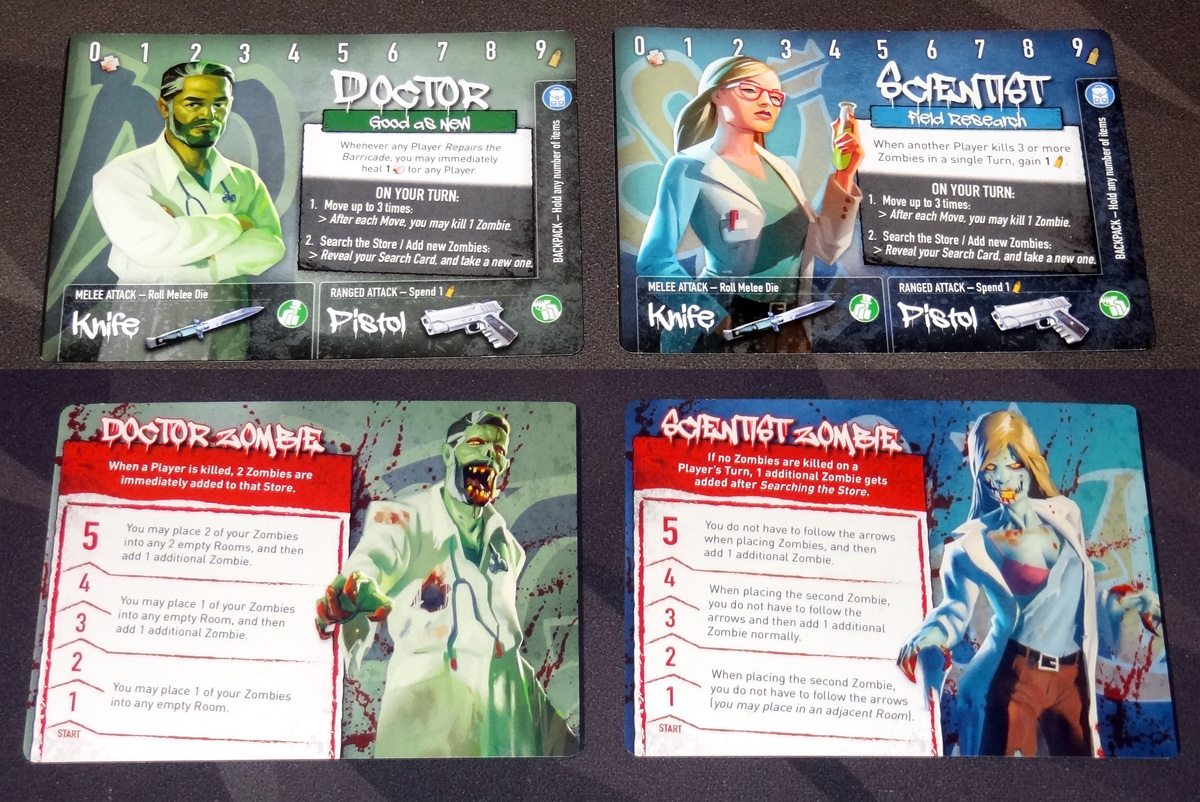 Tiny Epic Zombies character cards