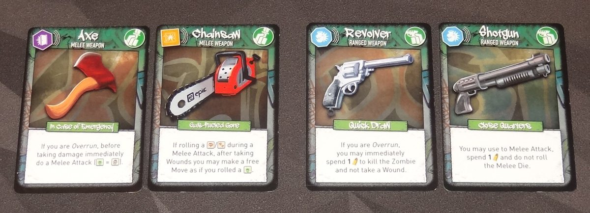 Tiny Epic Zombies weapons cards