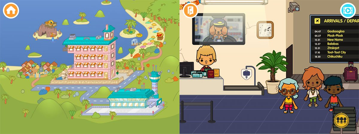 Toca life: Vacation screens