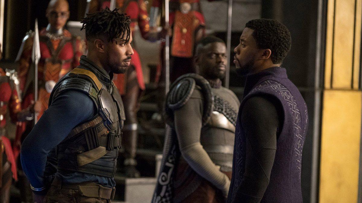 T'Challa (Chadwick Boseman) confronts Killmonger (Michael B. Jordan).
