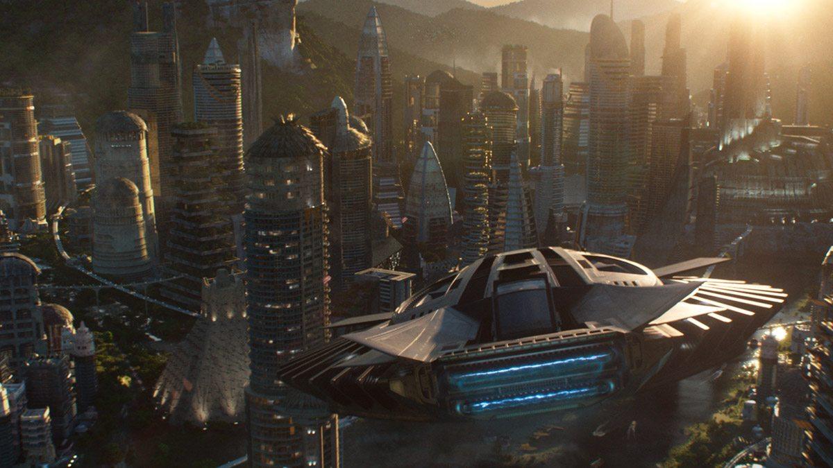 A Wakandan aircraft returns to the hidden city.