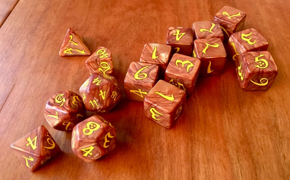 Set of fire themed dice