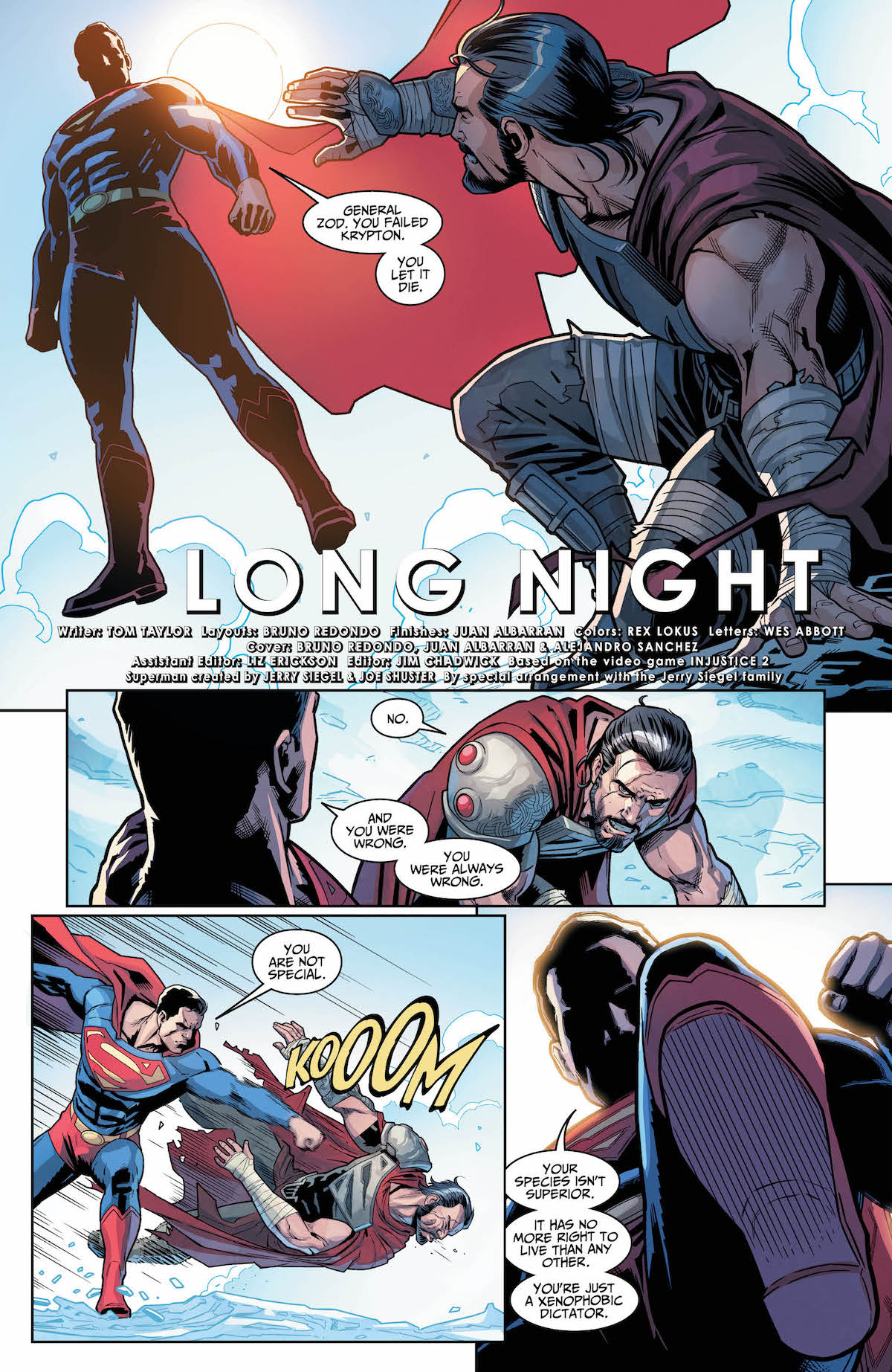 Injustice 2 #20 page 1 Superman and Zod