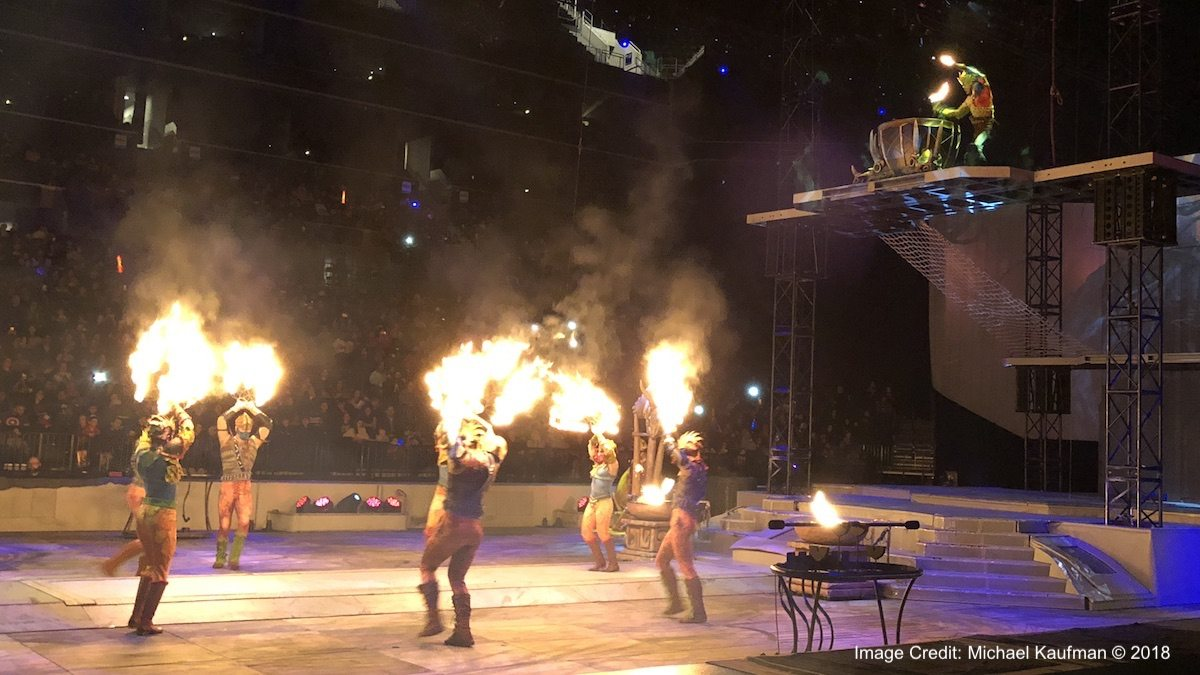 """Fire Effects in a Savage Land temple during """"Marvel Universe LIVE!""""."""